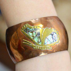 VTG Copper Brass & Abalone Butterfly Cuff Bracelet